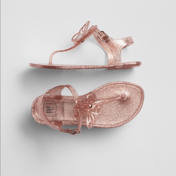 2555aa913065 Gap Rose Gold Butterfly Jelly Sandals size 12